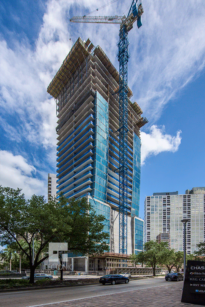 Viewed from the north along Brickell Avenue