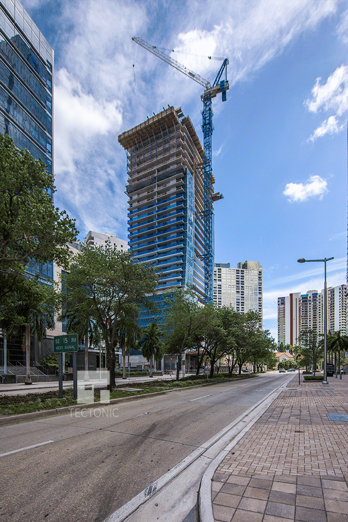 From the north along Brickell Avenue