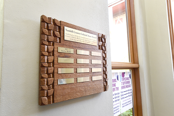 The Yamhill County Cultural Asset Award hanging in the McMinnville CIty Library. (Marcus Larson/Courtesy the News-Register)