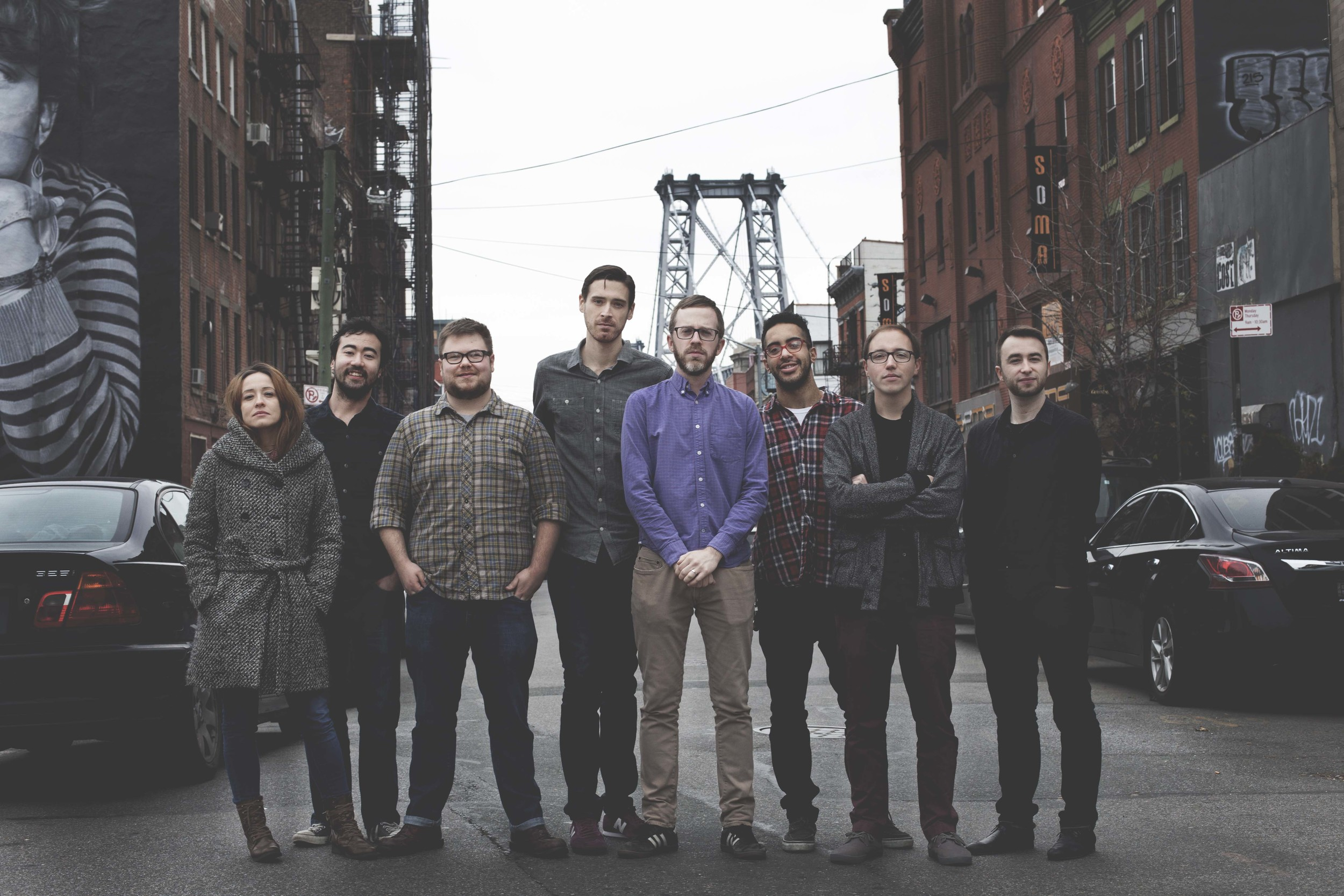 Matterhorn in Brooklyn: (L to R) Marta Sanchez, Marty Kenney, Brad Mulholland, Jeff McLaughlin, Drew Williams, Nathan Ellman-Bell, John Blevins, Nick Grinder. Photo:  Anthony Garito