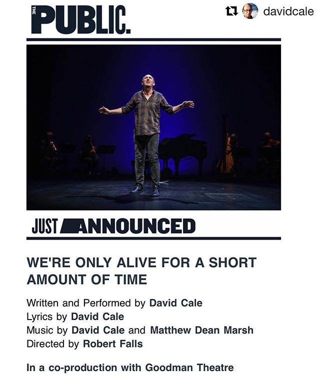 "Yes! Heading back to @publictheaterny this summer! #Repost @davidcale with @get_repost ・・・ Just Announced! ""We're Only Alive for A Short Amount of Time"" is coming to The Public Theater!"