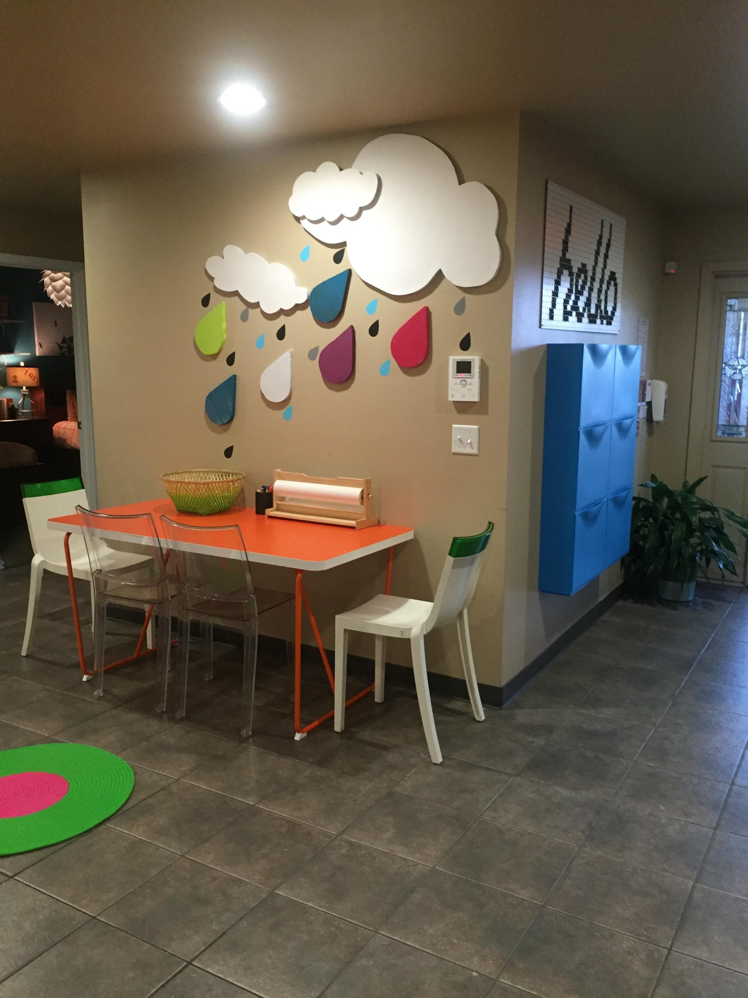 Foyer table for creating art