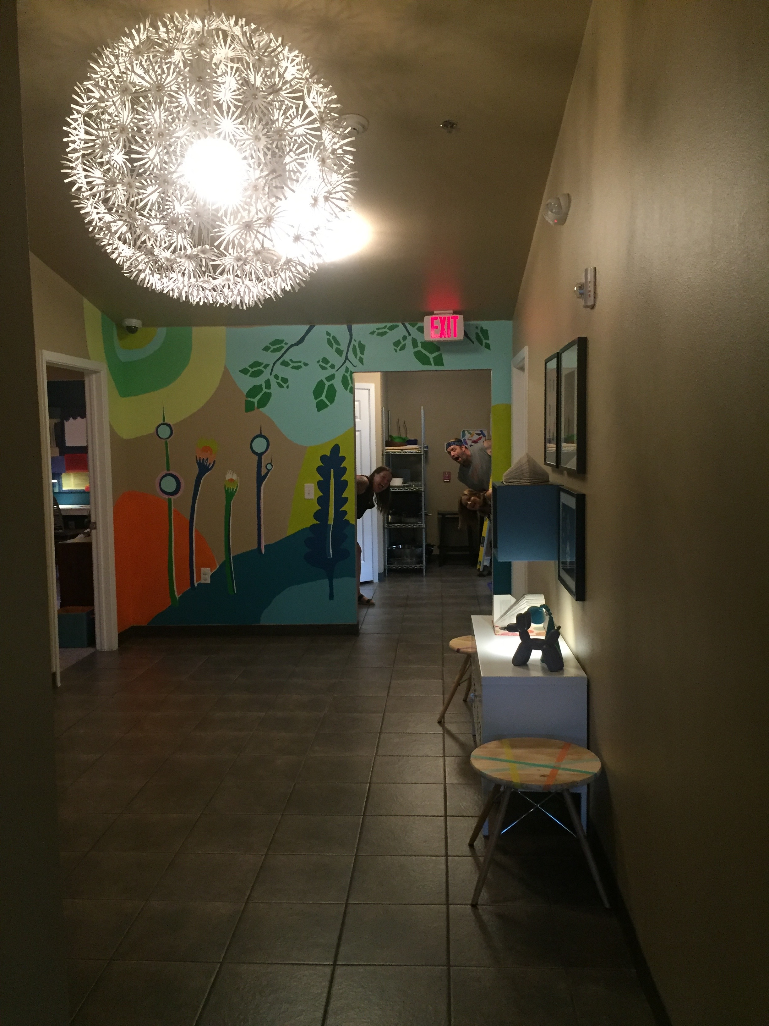 From the Foyer to the Kitchen, the mural immediately catches your eye