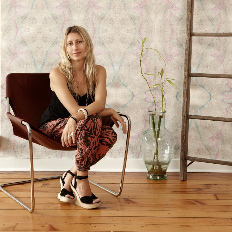 Shanan Campanaro   gets textiles. She started in graphic design and fashion, but always wanted to transform interiors. She created Eskayel to create her brand of hippie chic fabrics, wallpaper and more, while always striving to be eco-conscious and to give back to environmental groups. How inspiring is that?