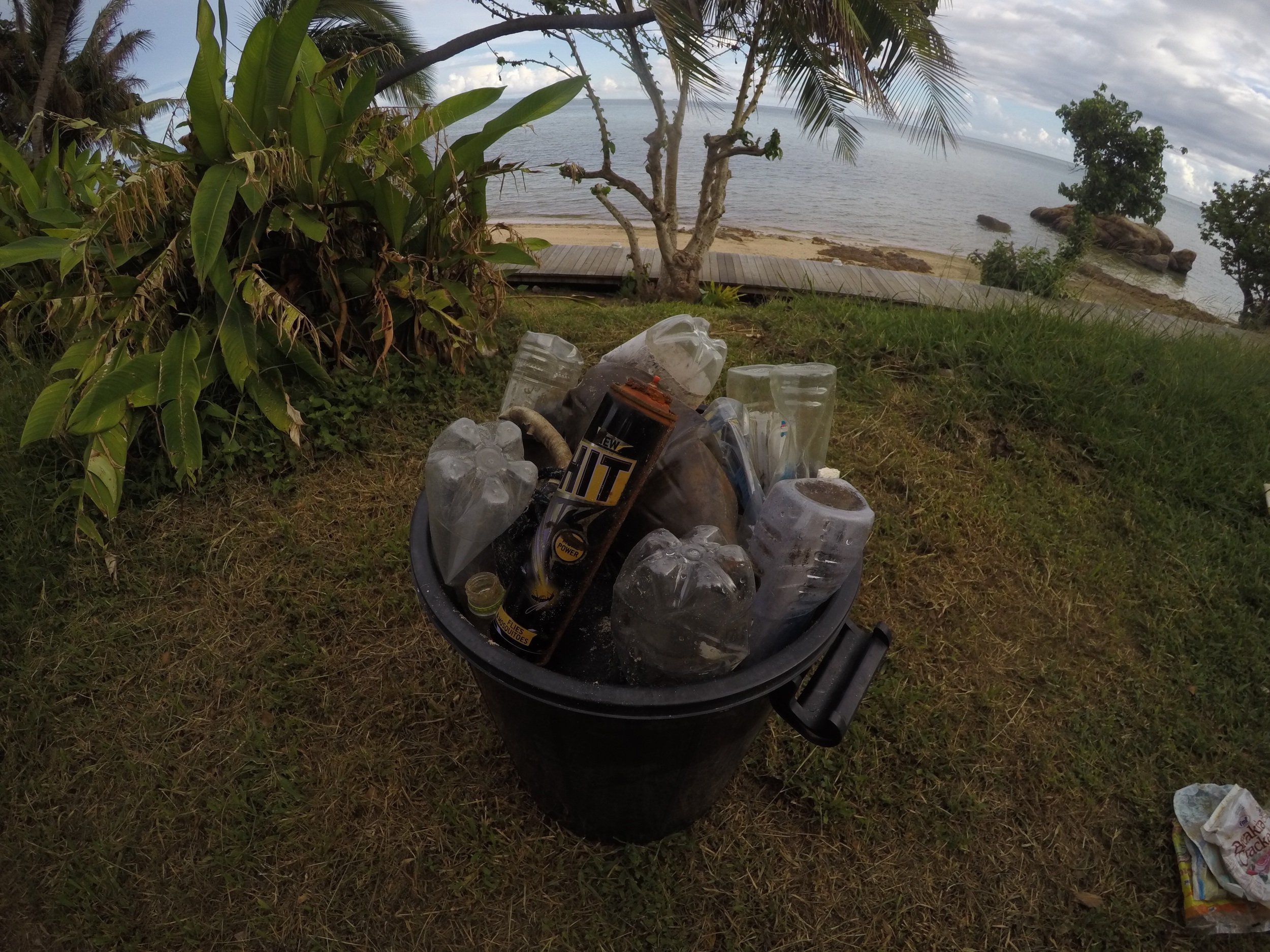 One of two buckets of trash collected for our fuel sample. Only about 1/6 of the rubbish we cleaned up was useable in the Be-h