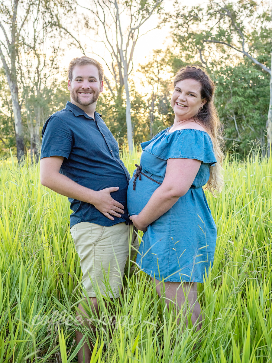 Hannah and Nathan, with Bikkie & Sav during their maternity session on McGregor's Farm in Mackay