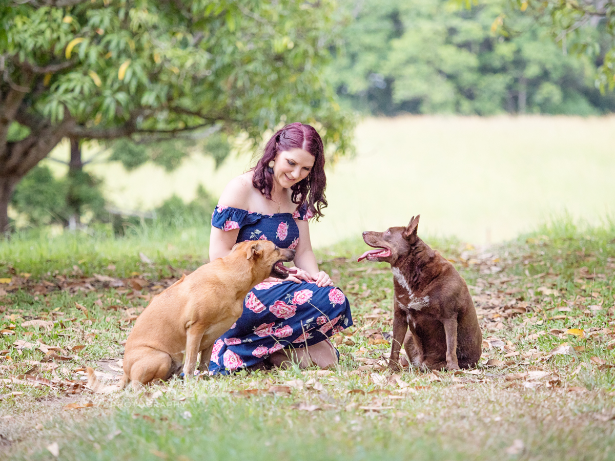 Samantha with her dogs during her 30th Birthday Portrait Session