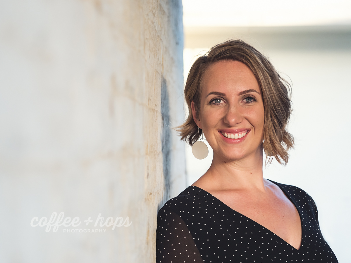 Kelly Drobek headshot during portrait photography session in Mackay's City Heart