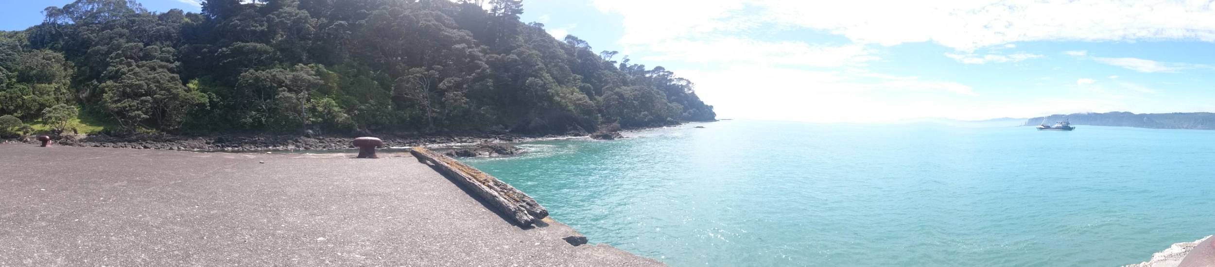 View from VHF contact point at wharf end of Hicks Bay