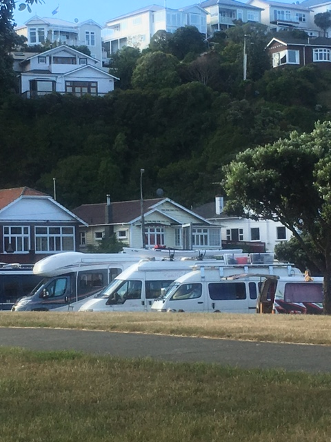 Cuzzie lined up with all the others at the marina camper-van location