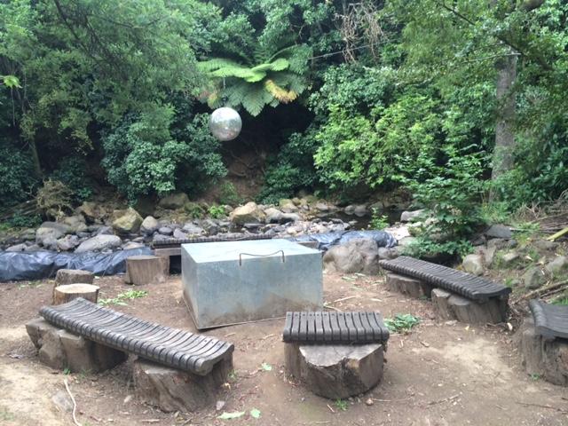Discoball campfire area