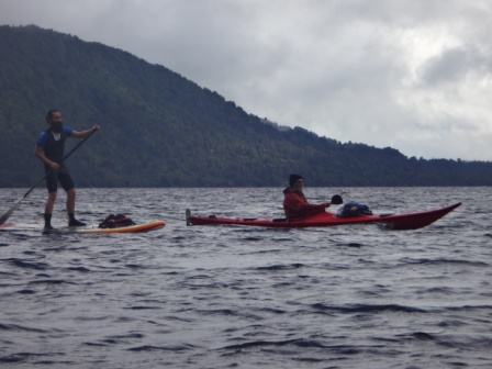 Leon and Paul paddling Lake Brunner.