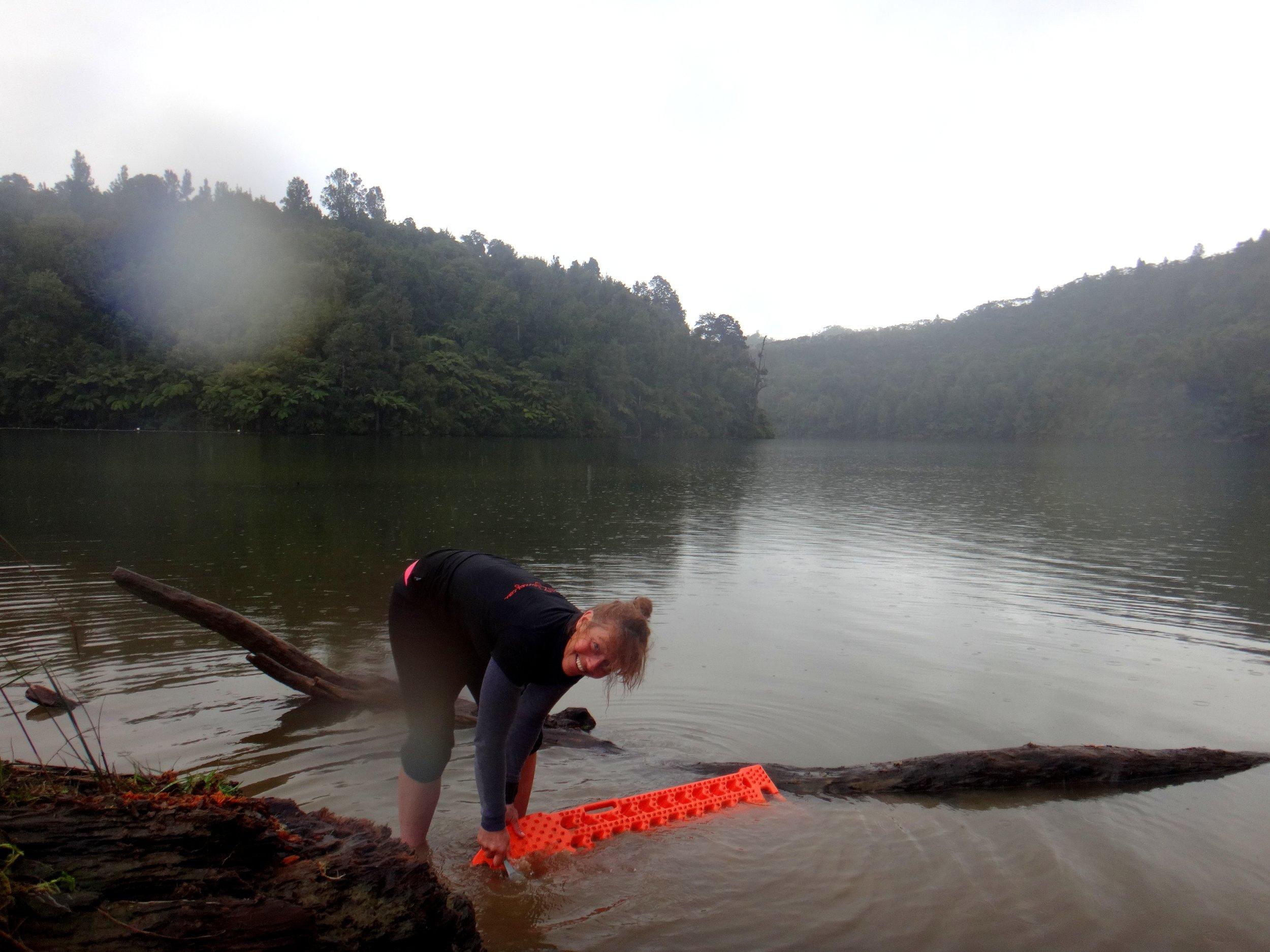 Washing the mud and animal manure off my beloved orange ramps.