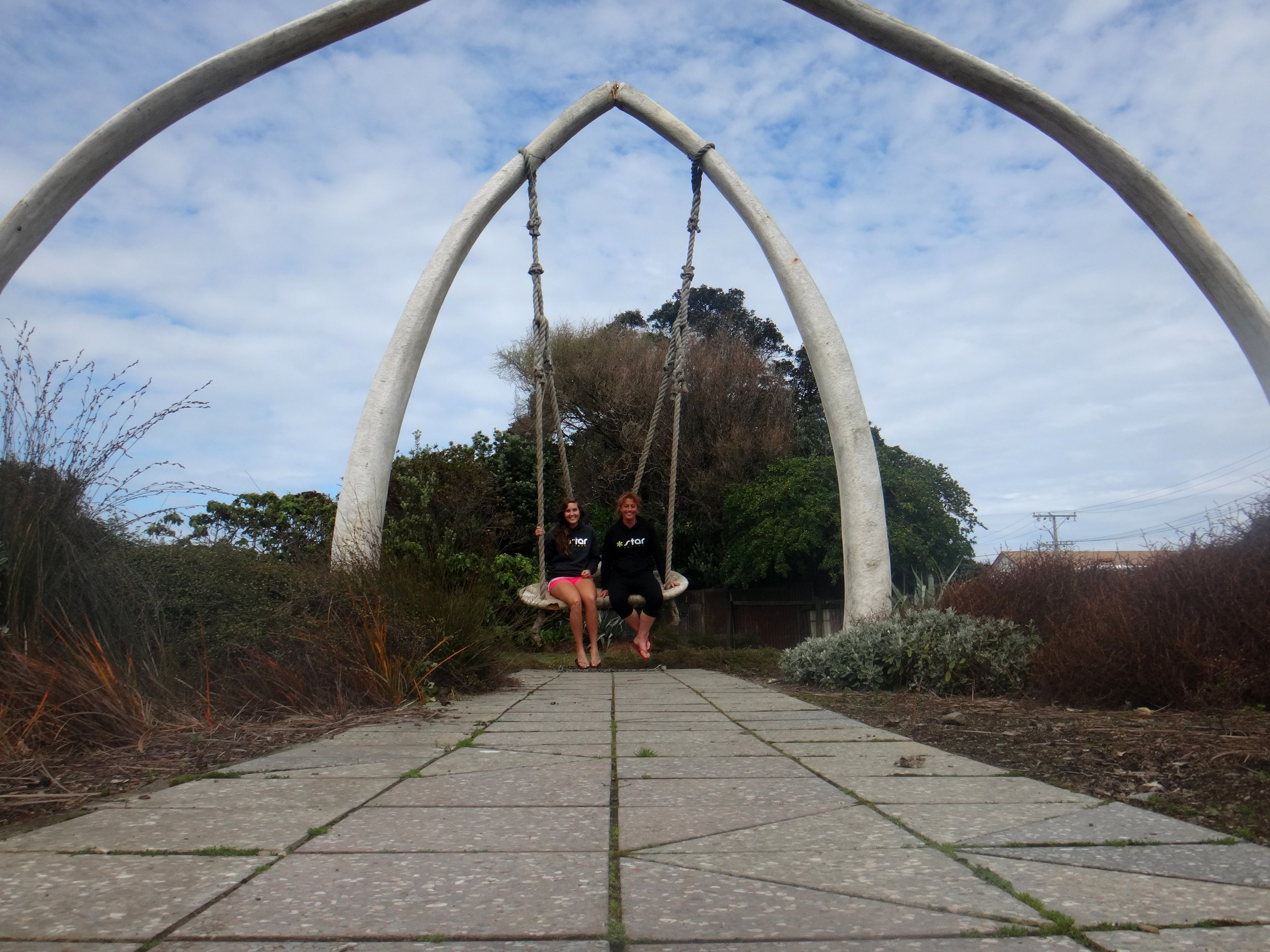 Red and Anna on the giant swing in Patea.