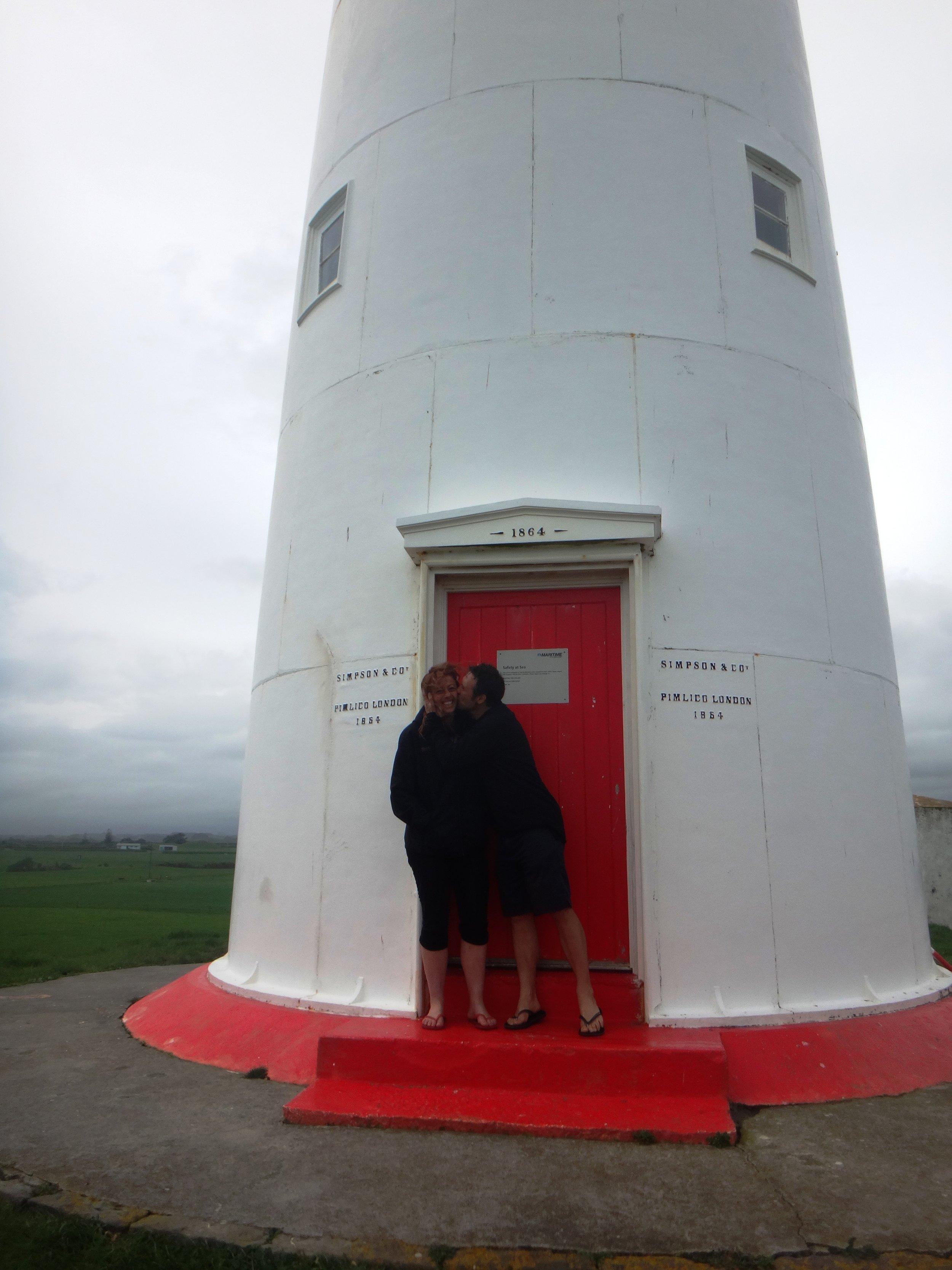Kisses for Red at Cape Egmont Lighthouse.