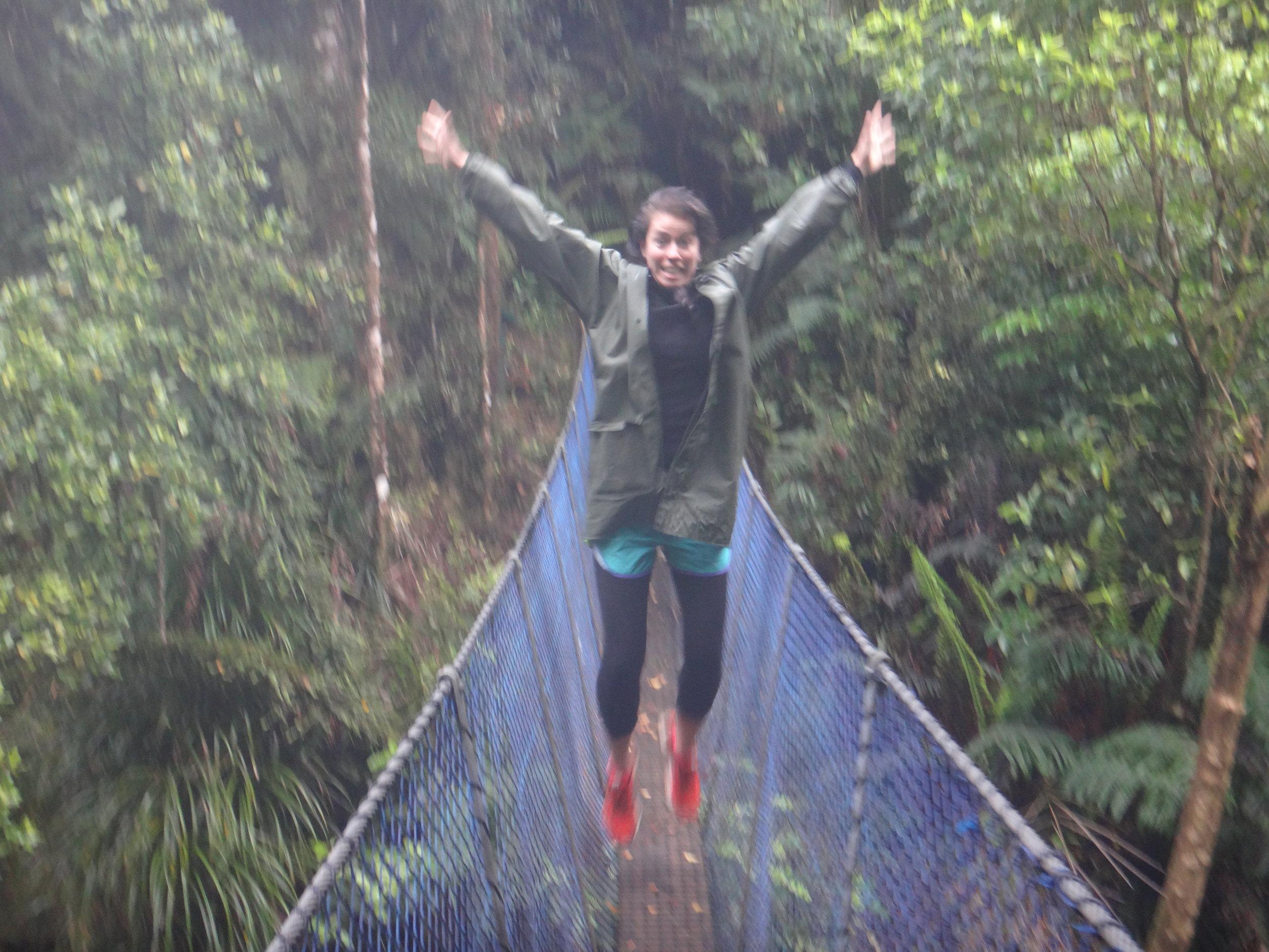 We love swing bridges.Nat jumping for joy!