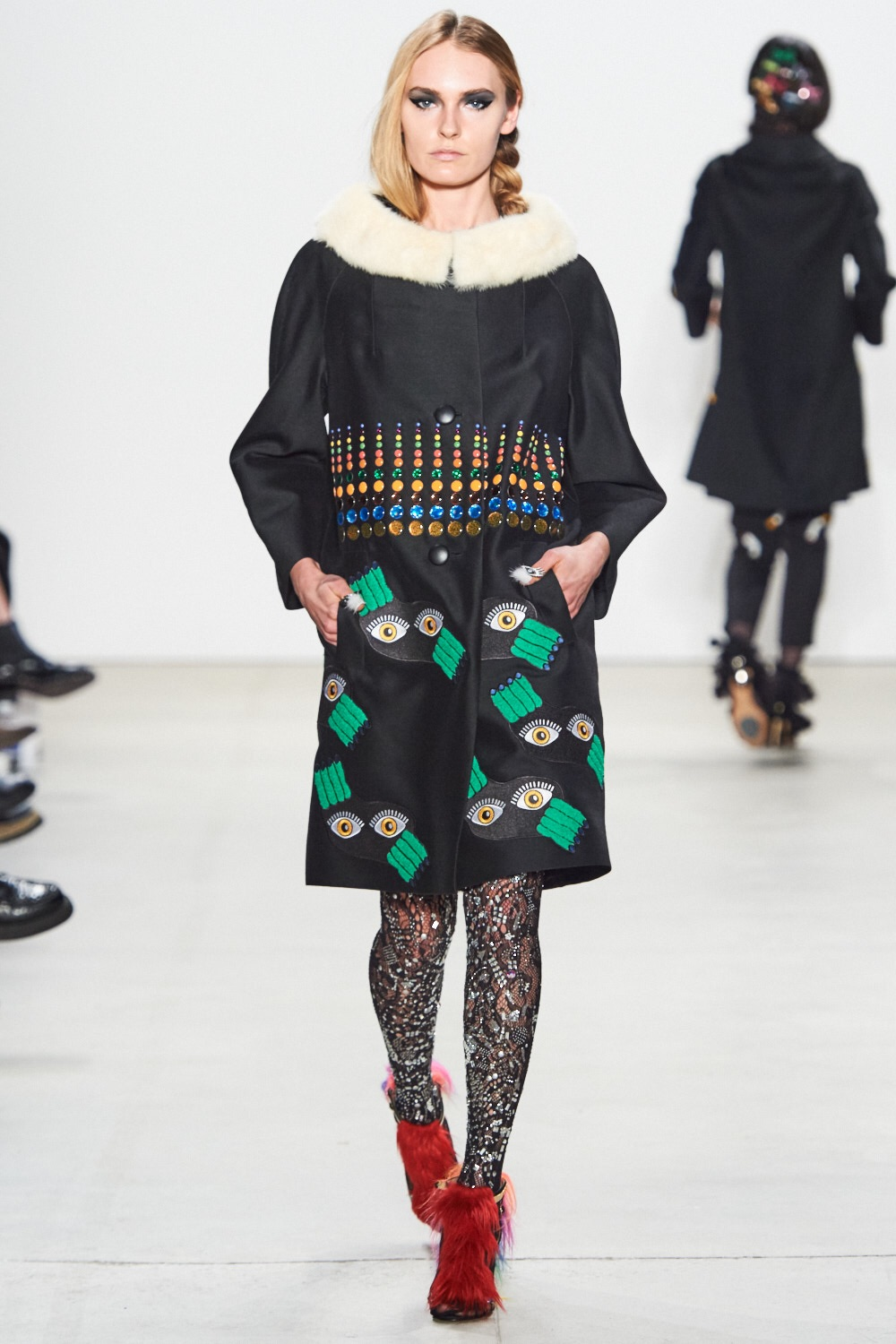Fur collared coat with embroidery. Libertine
