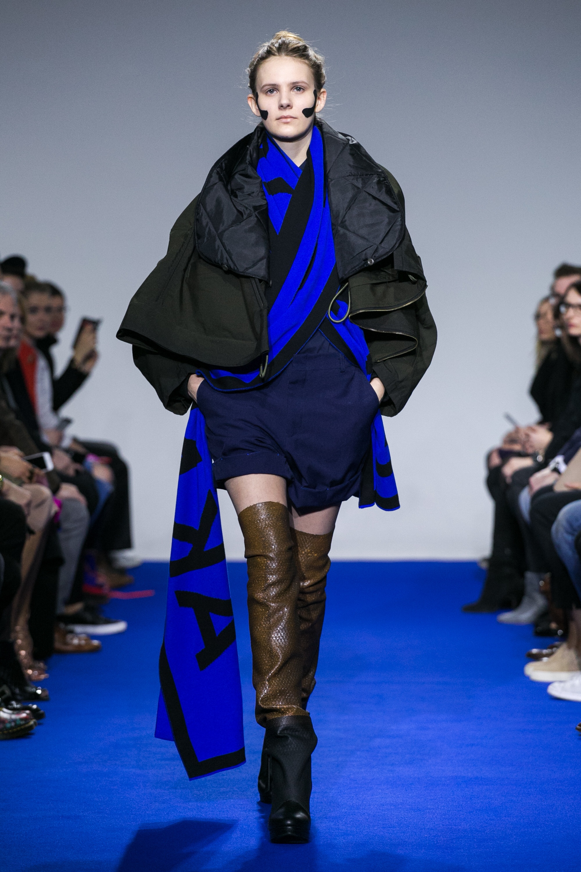 Long Klein blue scarf with reverted Jakub Polanka lettering.