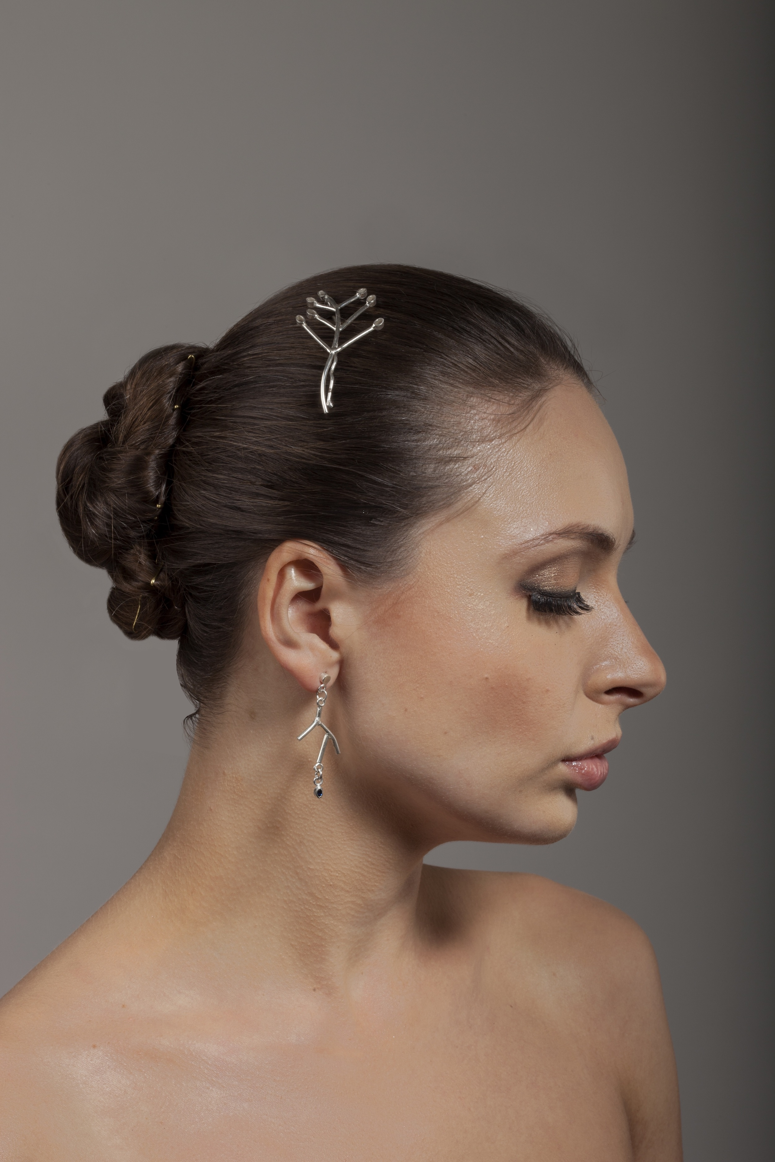 Twig earrings and hair slides - Farah Qureshi.