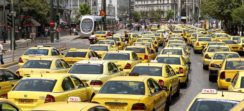 A sea of cabs - Greece