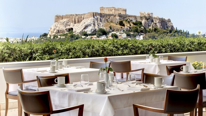 Roof top view of the Acropolis from the Grande Bretagne Hotel