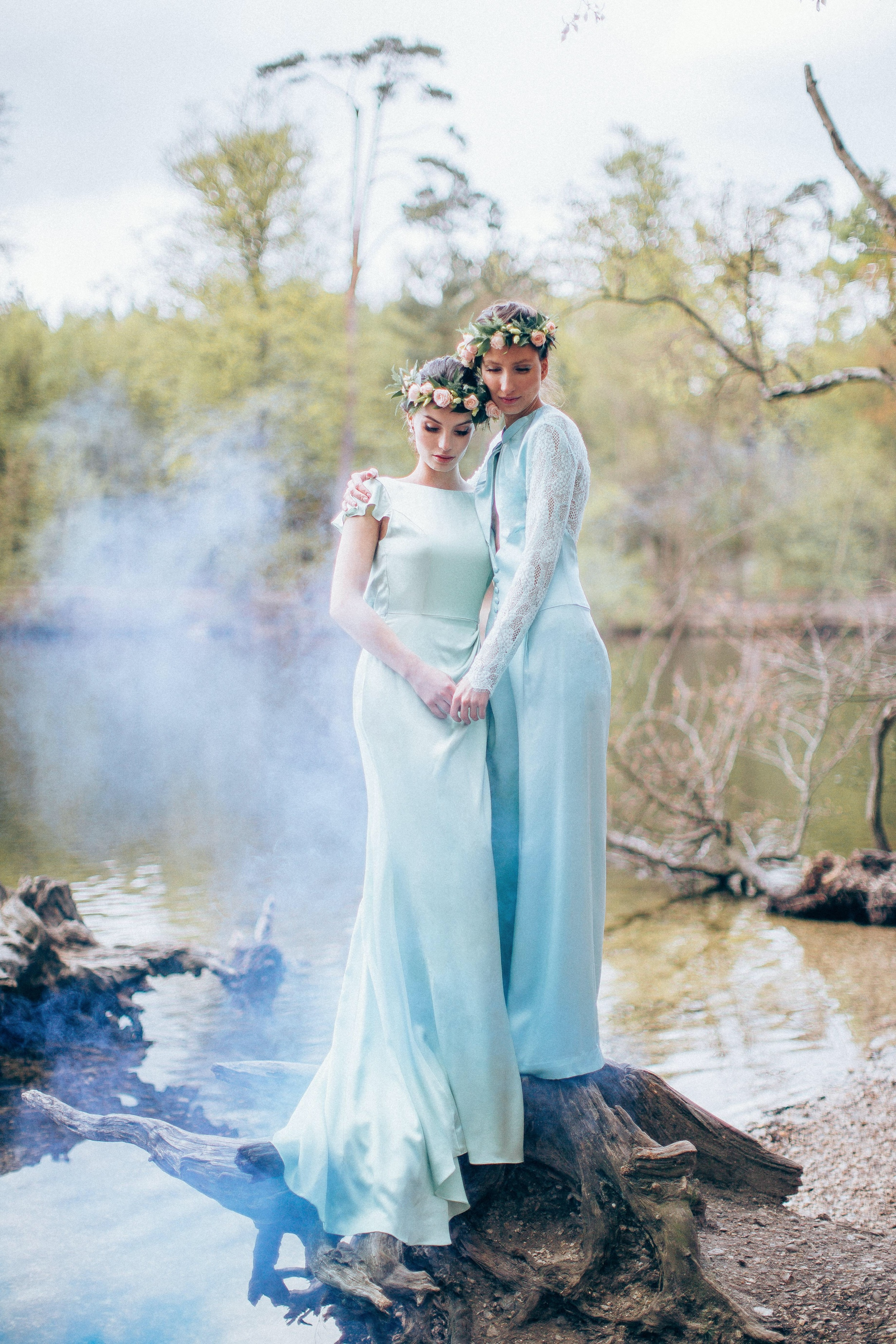 Jade gown and Ixia jumpsuit