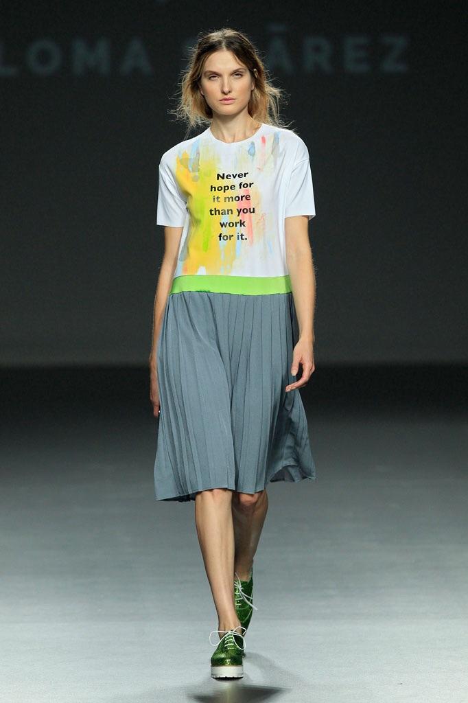 Simple pleated dress is uplifted with lime waist band - Paloma Suarez