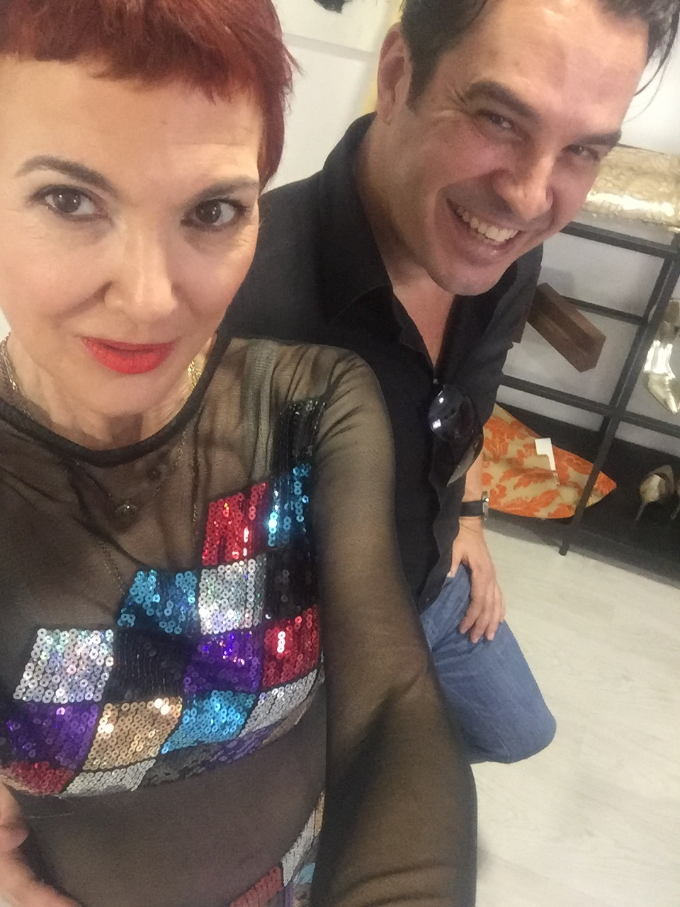 Pedro Palmas and me trying on one of his Party dresses