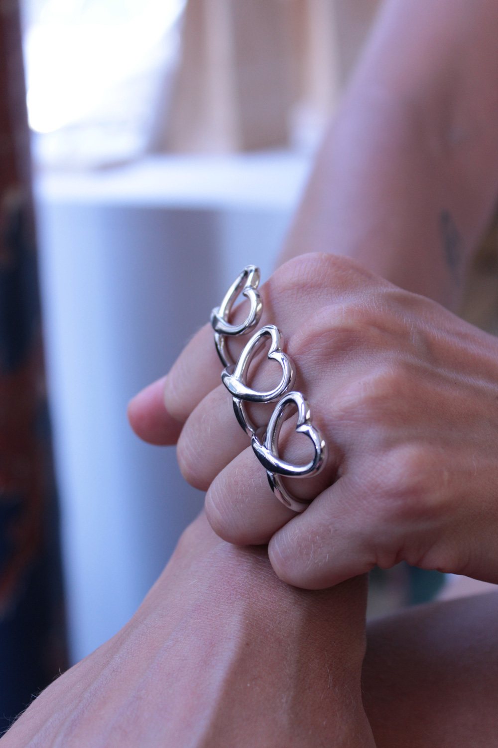 His ever popular heart ring that comes in silver and gold.
