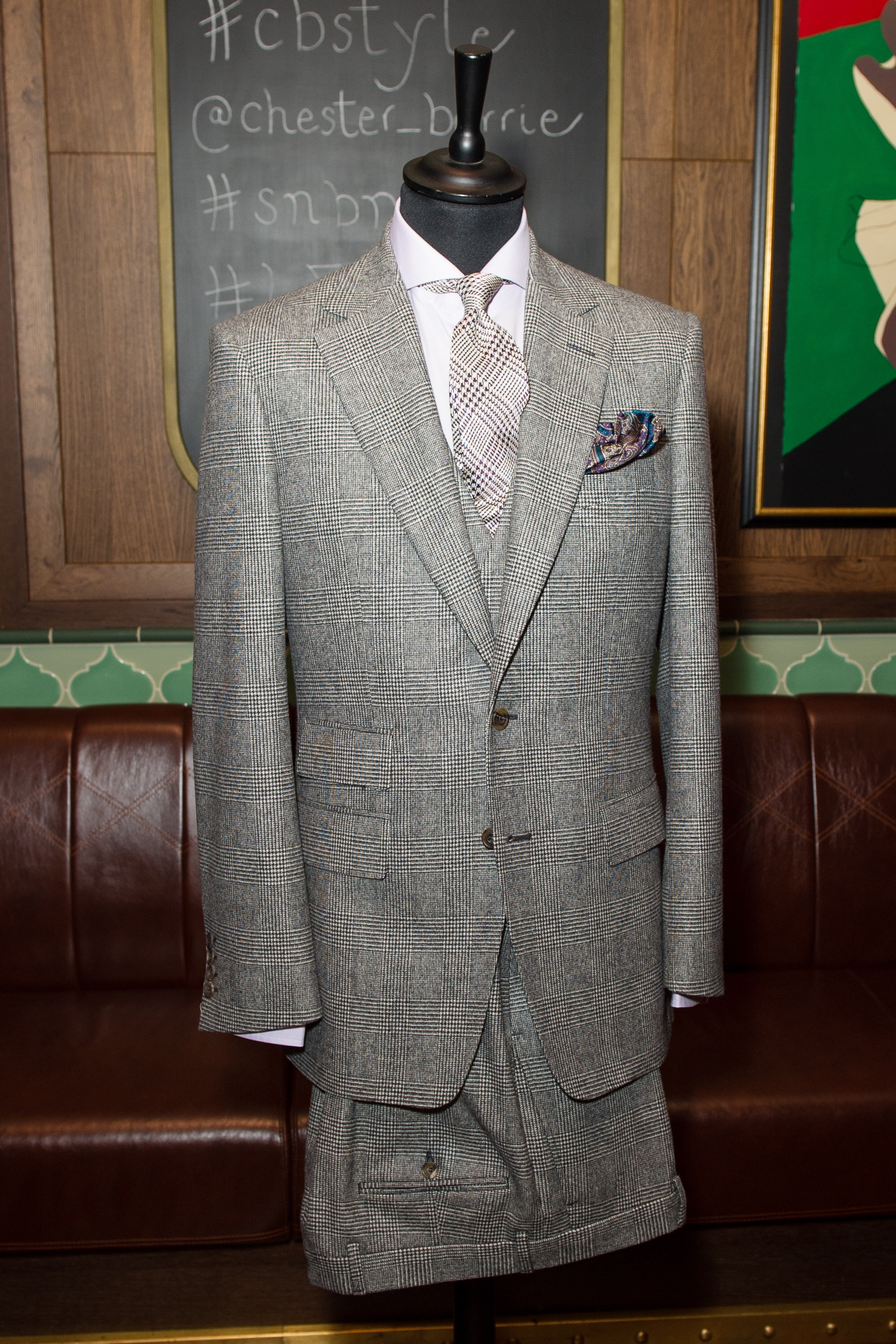 Eastleigh 3pce suit. single breasted with ticket pocket and double breasted vest.