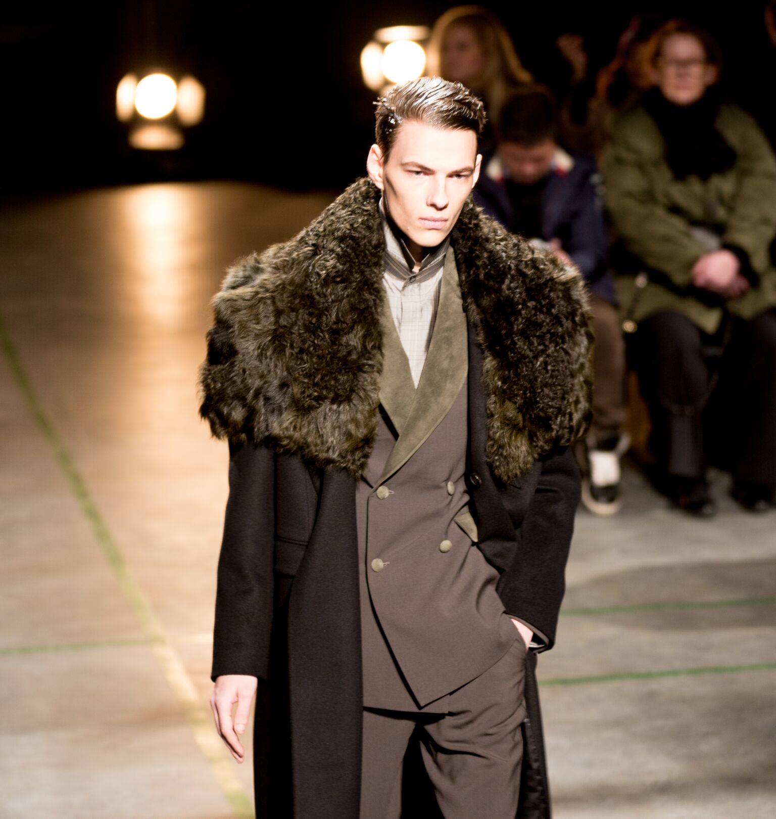 Playing with textures - silks, shearling, leather.
