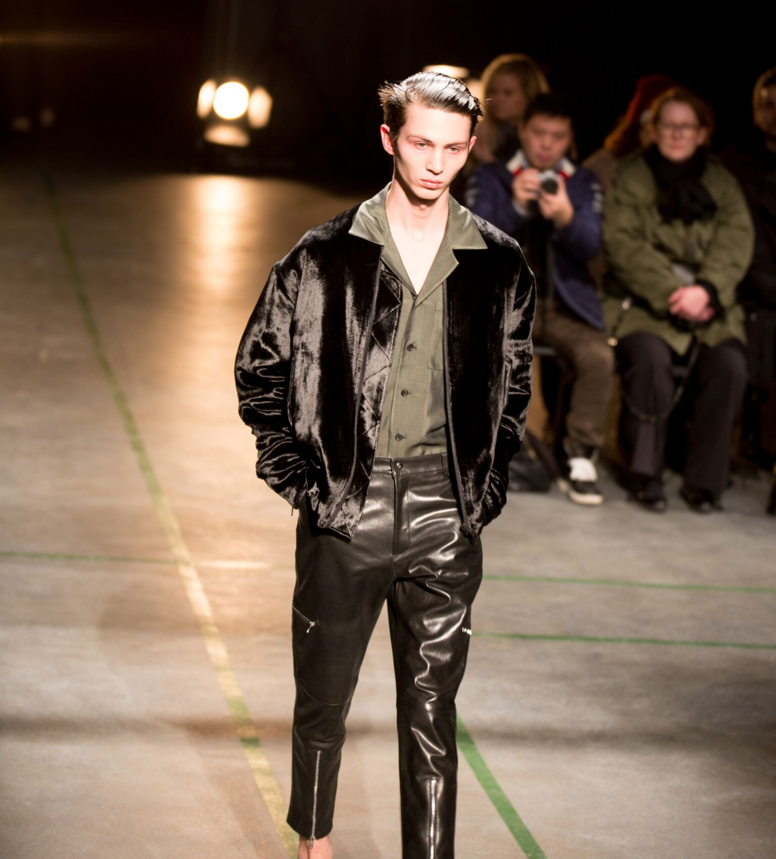 Trim Leather pants with zips.