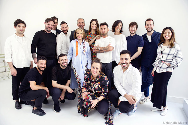 10 semi-finalists designers with Livia Firth, Carlo Capasa and Desiree Bollier.