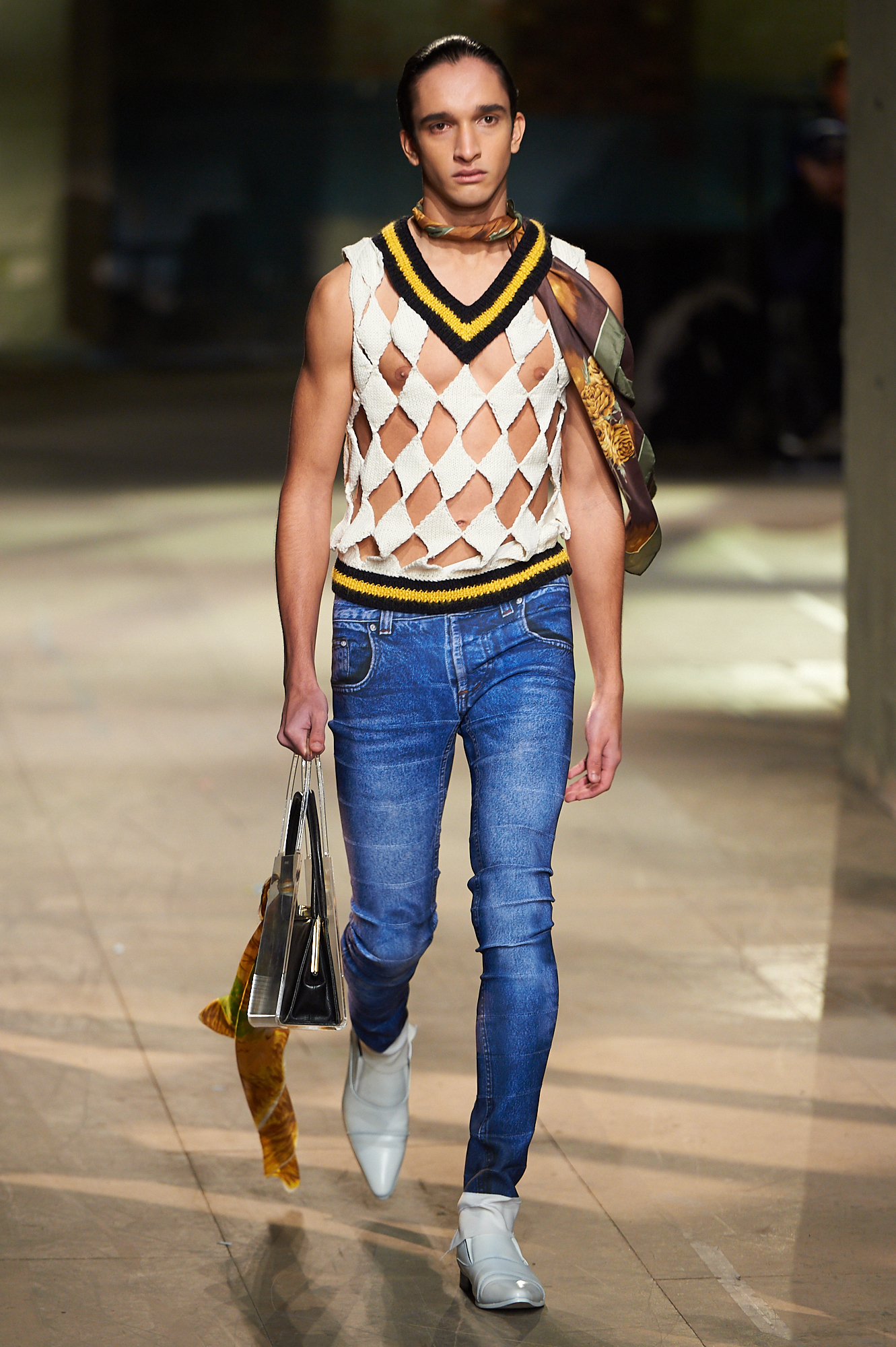 Argyle pattern cut out gilet by Stefan Cooke at the Man showcase sponsored by TopMan.  Foto Alan West for MsCastroRides
