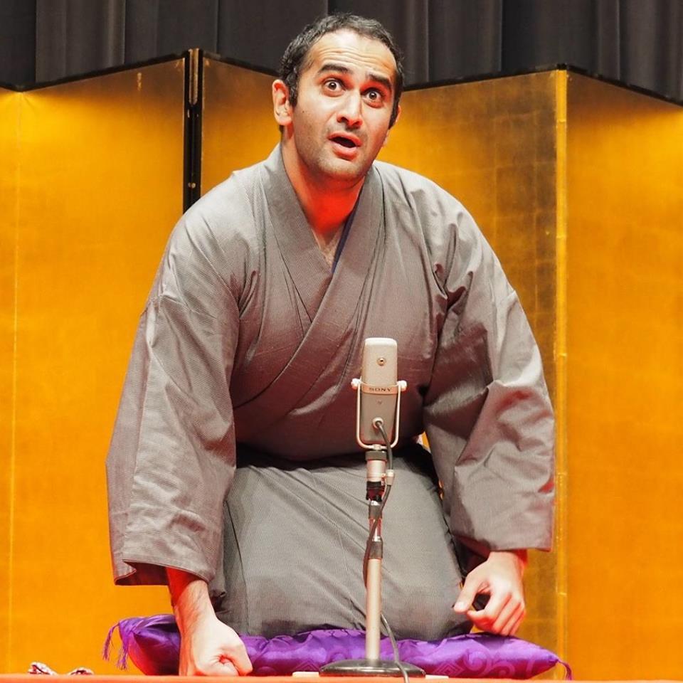 Kadentei LoveMehta at the Chiba International Rakugo Tournament, November 2015. (Photo by Akina Mehta)