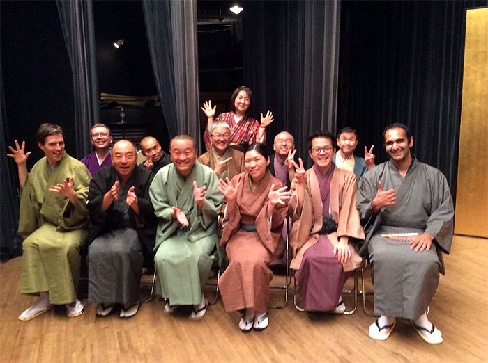LoveMehta (far right) and m embers of the amateur rakugo community after the Chiba International Rakugo Tournament in 2015. (Photo by Chiaki)