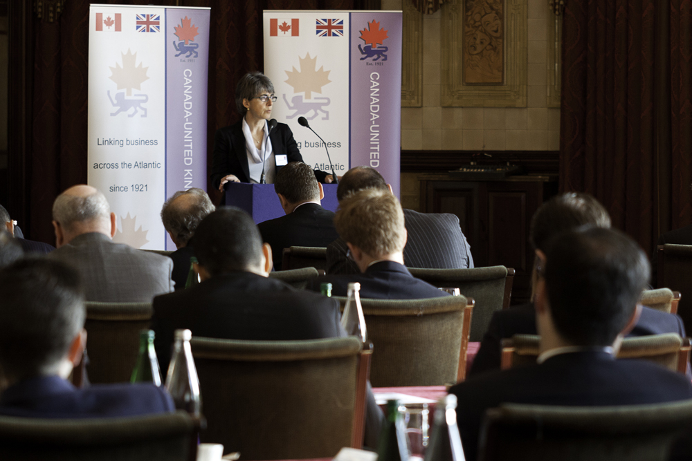 Canada-UK Chamber of Commerce inaugural Energy Forum breakfast at One Whitehall Place in London with Lorraine Mitchelmore, President & Country Chair, Shell Canada. London 2013