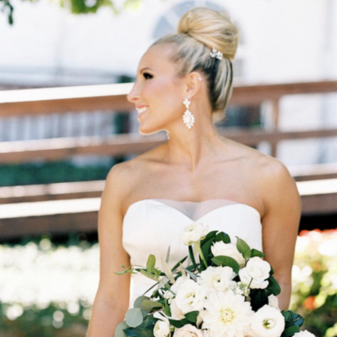 Jill looks stunning wearing our Coriander earrings & Monica bracelet.