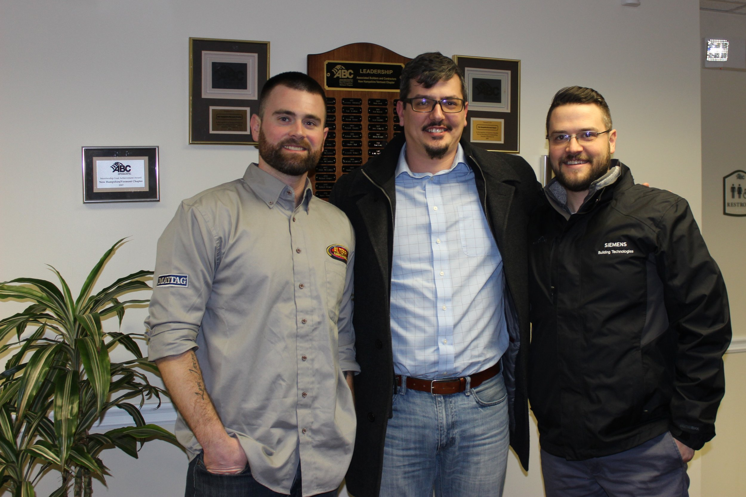 New ABC YPG Steering Committee members from left to right: Rick Baron, Al Terry Plumbing and Heating, Inc; Joel Pickering, Denron Plumbing and HVAC, LLC; and Sean Roukey, Siemens Building Technologies