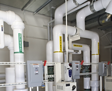 Heating hot water and chilled water piping for General Instruction Building 8