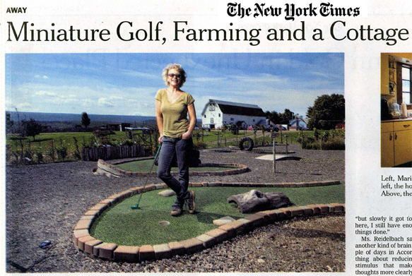 a New York times article about the creator of Stick to Local Farms, maria Reidelbach, and Homegrown Mini-Golf, the world's only edible miniature golf course.  Click  for PDF