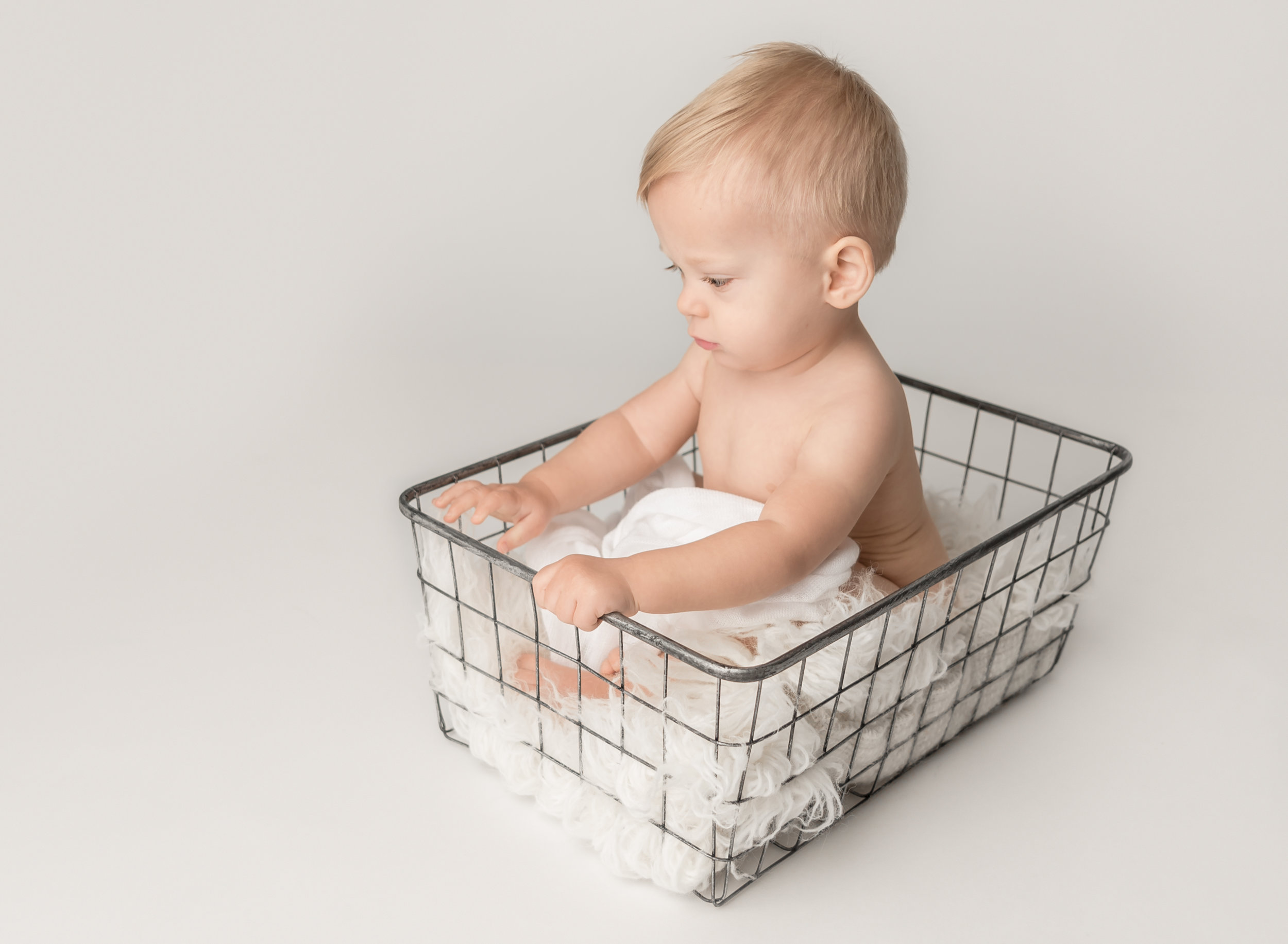 One Year Old in a Basket