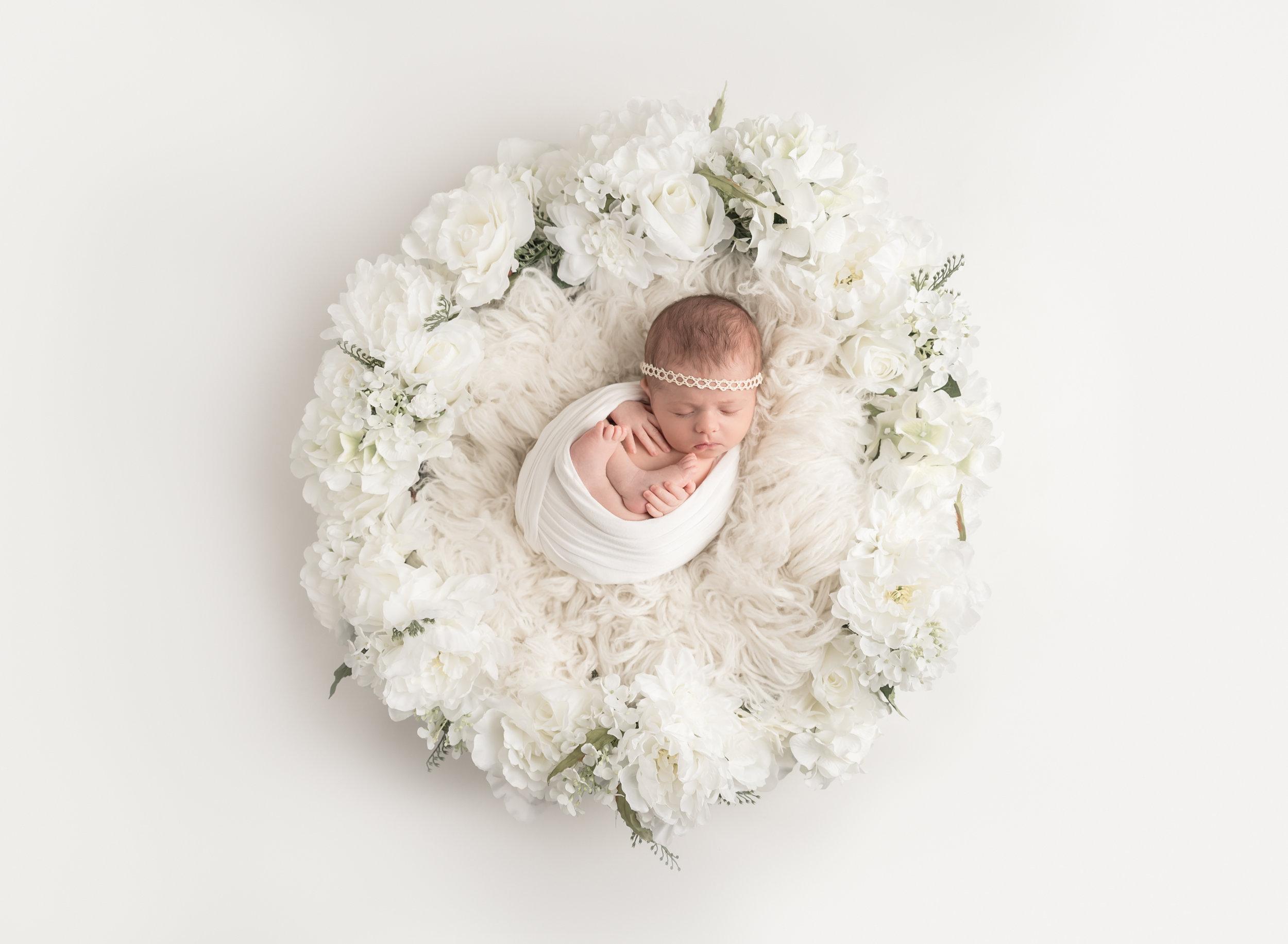 Newborn in Flower Basket