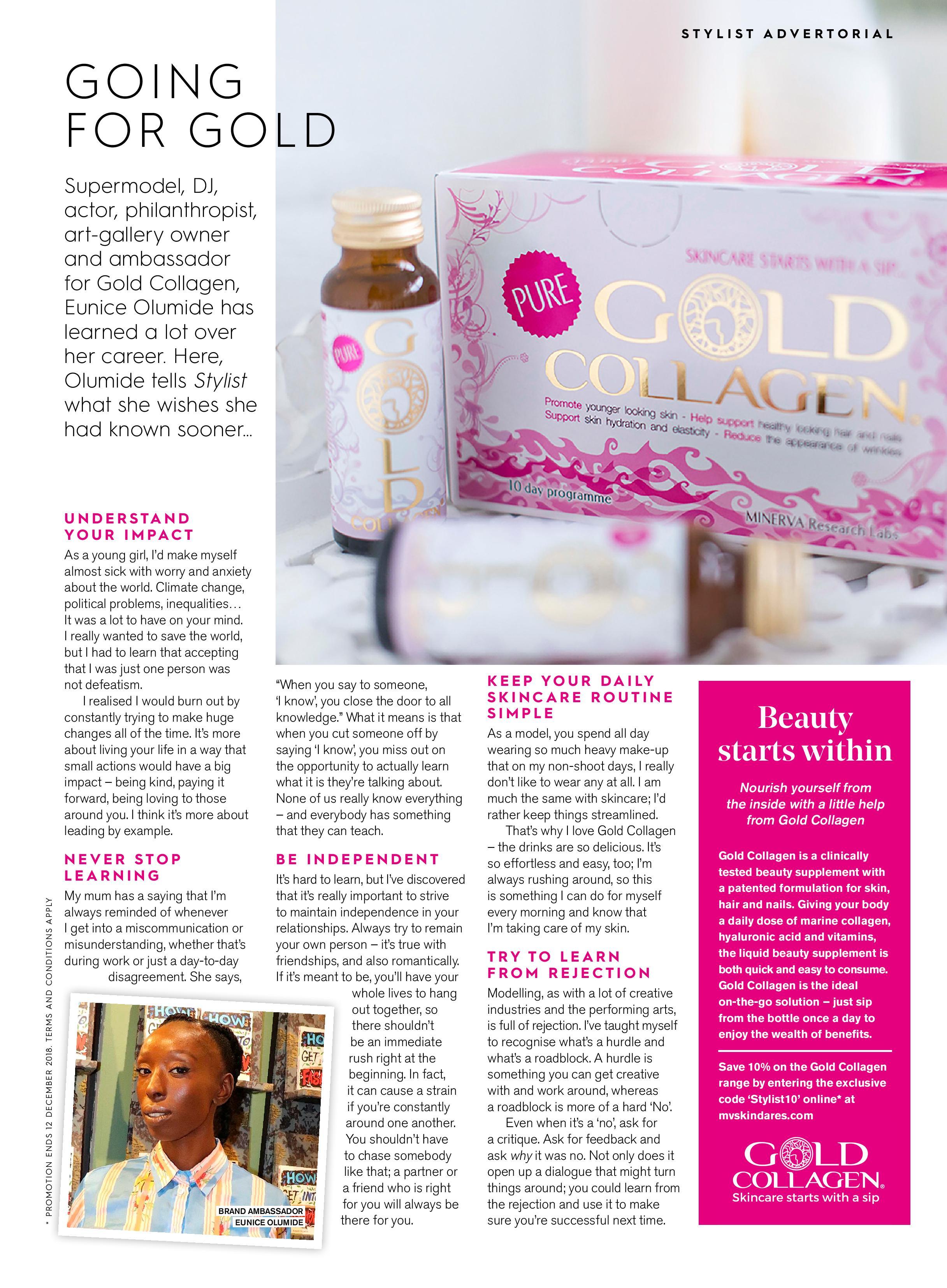 Advertorial in Stylist Magazine ft. brand ambassador Eunice Olumide