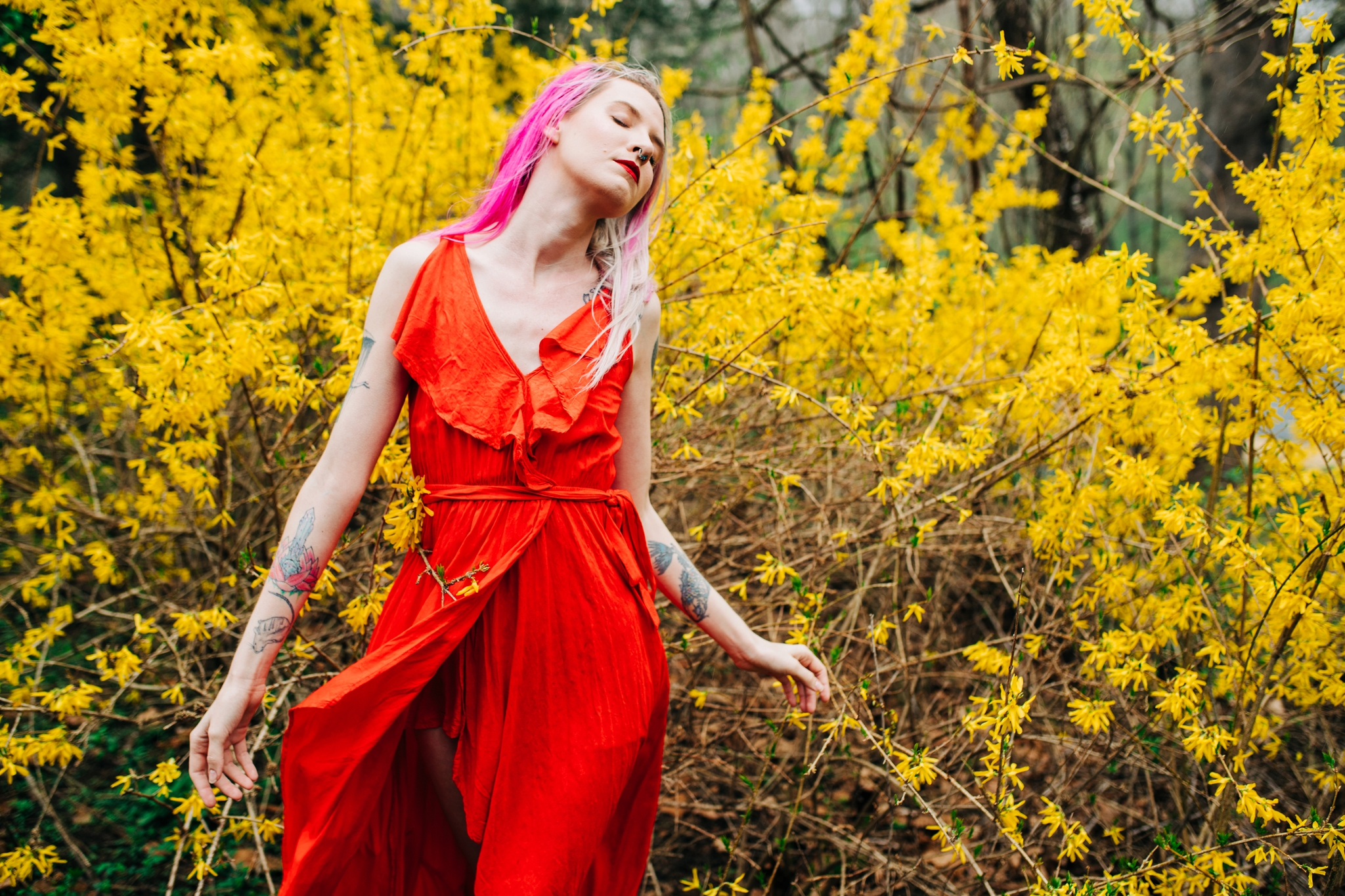 Emily Grace Photography, Lancaster PA Wedding Photographer for Adventurous Couples, Lancaster County Central Park Portrait Session, Forsythia Photo Shoot, Spring Blooms