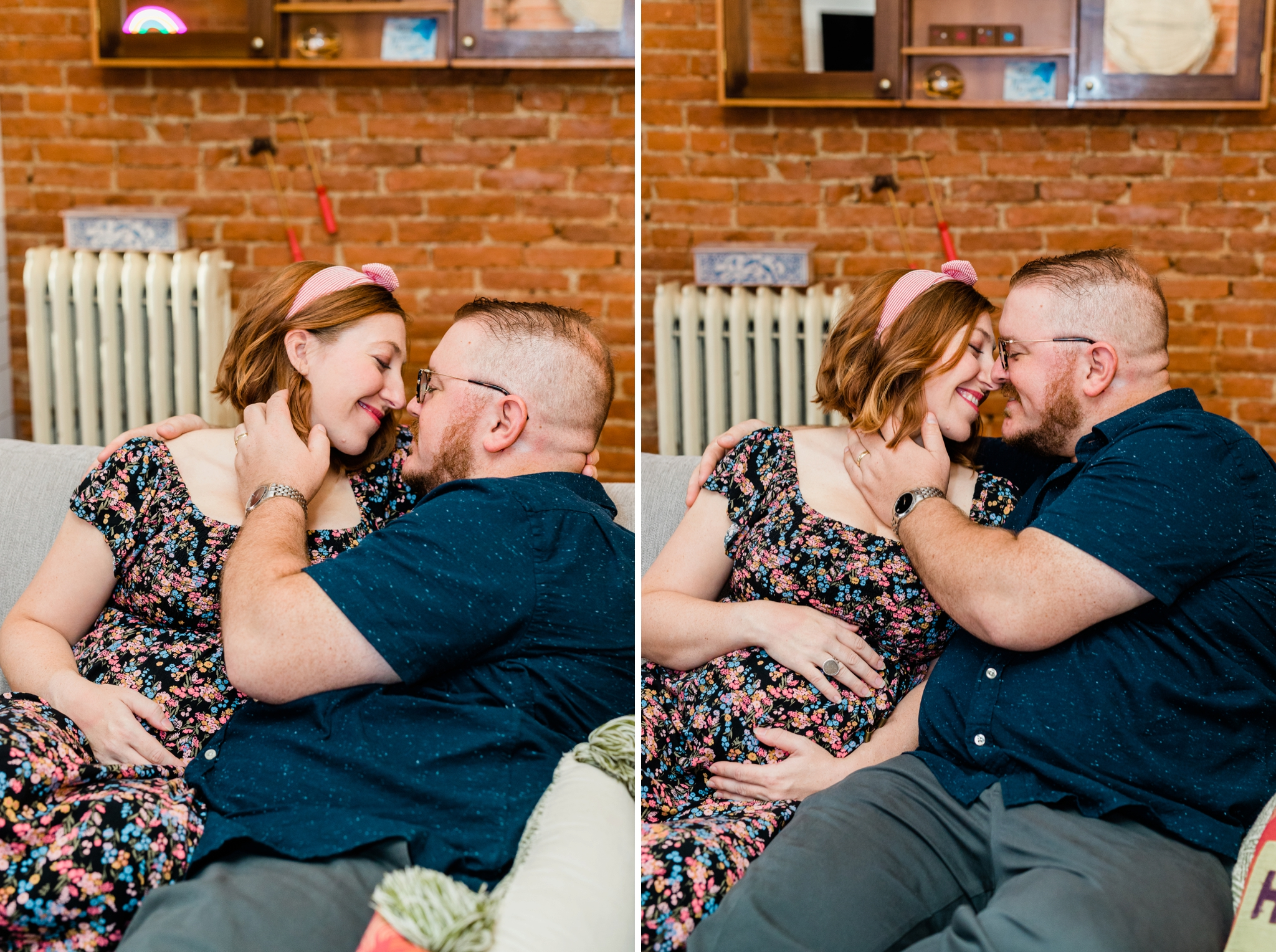 Emily Grace Photography, Lancaster PA Maternity Photographer, Lancaster City In-Home Maternity Photos, Maternity Session with Dogs