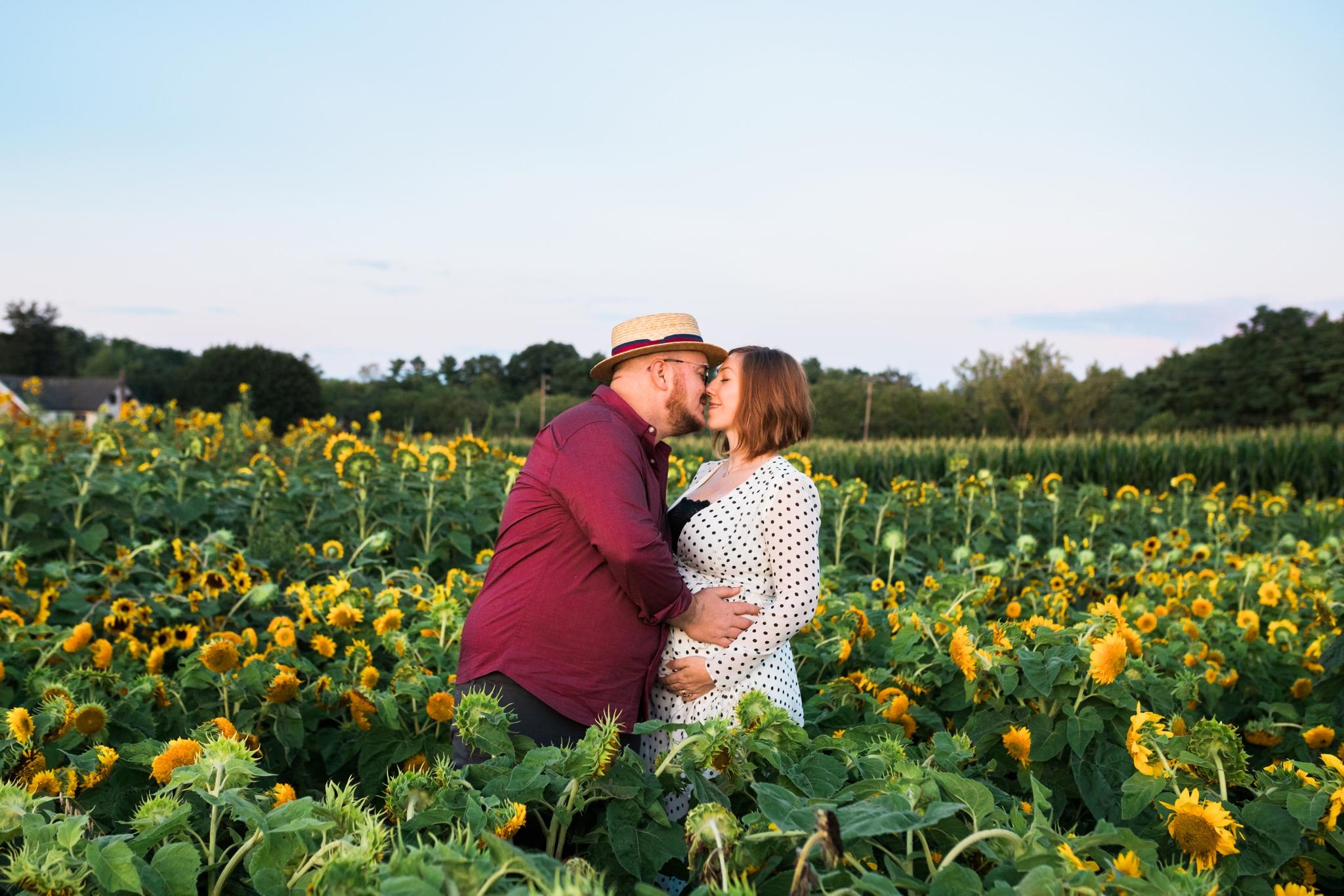 Emily Grace Photography, Lancaster PA Maternity Photographer, Sunflower Field Maternity Photos, Oregon Dairy Sunflower Field Photos
