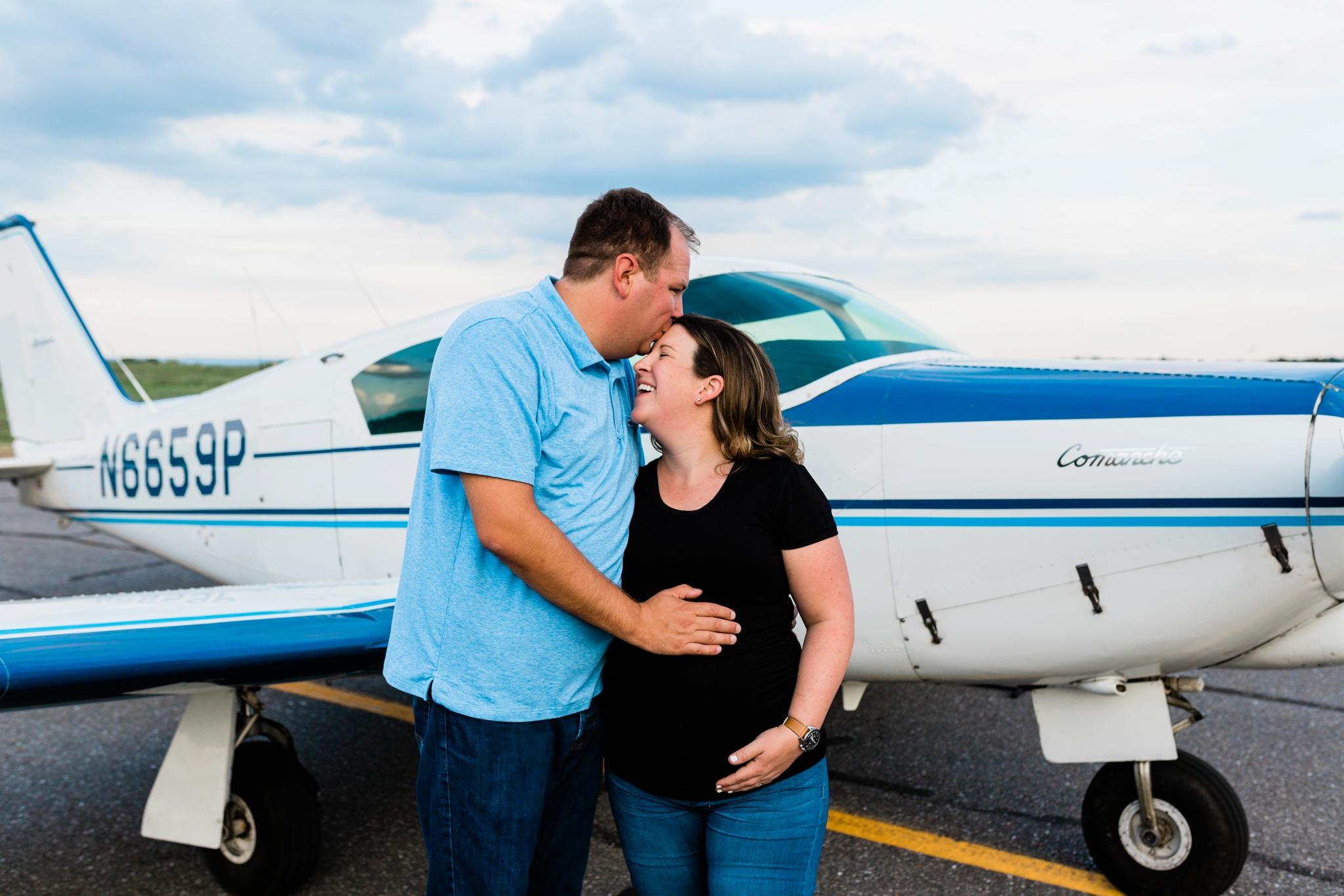 Emily Grace Photography, Lancaster PA Maternity Photographer, Lancaster Airport Maternity Photos, Lititz PA Maternity Photos, Airplane Maternity Photos