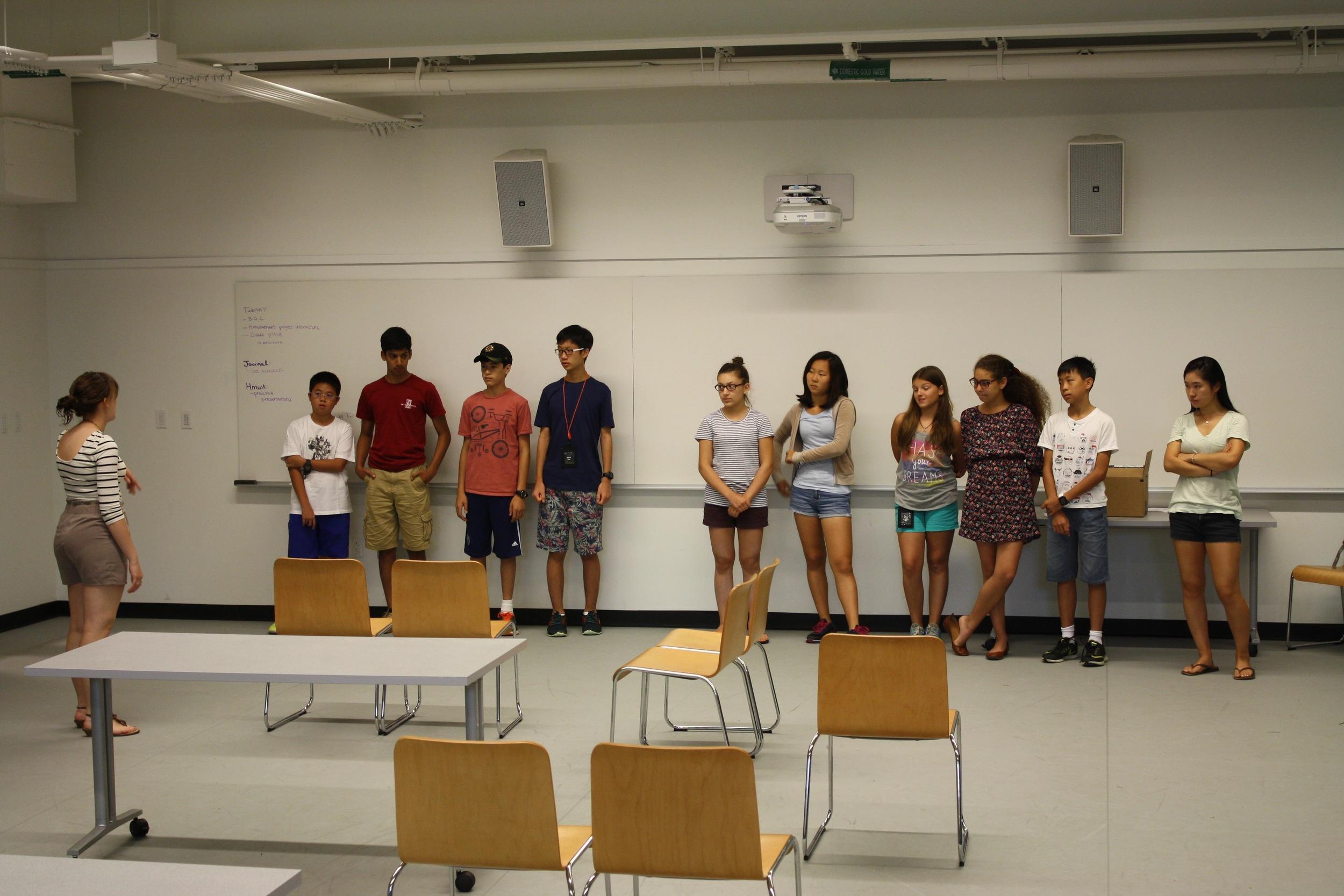 Drama-based warm-ups at the Experimentory
