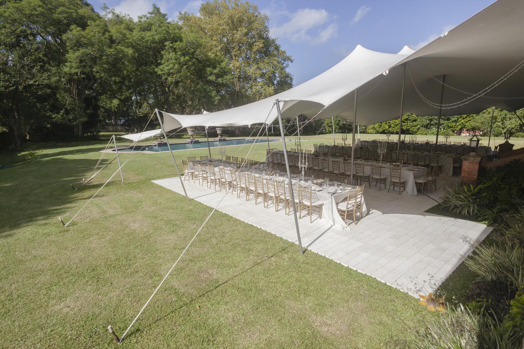 White corporate stretch tent hire